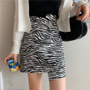 skirt Autumn 2020 S,M,L,XL,2XL,3XL,4XL Zebra pattern Short skirt commute High waist Irregular Zebra pattern Type A other polyester fiber Stereo decoration, asymmetric, zipper Korean version
