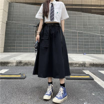 skirt Summer 2021 S,M,L black Mid length dress commute High waist Solid color 18-24 years old 51% (inclusive) - 70% (inclusive) Korean version