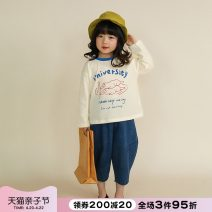 T-shirt Beige NNGZ 110cm 120cm 130cm 140cm 150cm 160cm 170cm female spring and autumn Long sleeves Crew neck leisure time There are models in the real shooting nothing cotton Cartoon animation Cotton 100% 211T504 Class B Winter 2020 Chinese Mainland Zhejiang Province Hangzhou