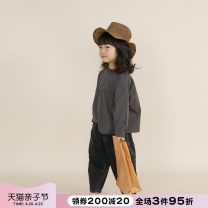 T-shirt grey NNGZ 110cm 120cm 130cm 140cm 150cm female winter Long sleeves Crew neck leisure time There are models in the real shooting nothing cotton other Cotton 100% B211T905 Class B Winter 2020 Chinese Mainland Zhejiang Province Hangzhou