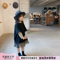 Dress black female NNGZ 110cm 120cm 130cm 140cm 150cm 160cm 170cm Cotton 100% spring and autumn leisure time Long sleeves stripe cotton other Class B Autumn 2020 Chinese Mainland Zhejiang Province Hangzhou