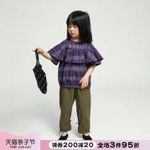 shirt Deep purple NNGZ female 120cm 130cm 140cm 150cm 160cm 165cm summer Short sleeve Korean version lattice cotton Cotton 100% 002C301-1 Class B Summer 2021