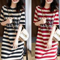 Dress Summer 2021 Red, black, white sling 009 M,L,XL,2XL,3XL longuette singleton  Short sleeve commute Crew neck Loose waist stripe Socket other routine Others 18-24 years old Type A Other / other 91% (inclusive) - 95% (inclusive) other polyester fiber