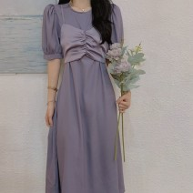 Dress Summer 2021 Purple apricot S M L XL Mid length dress singleton  Short sleeve commute Crew neck High waist Solid color Socket other routine Others 18-24 years old Cabinet school Korean version 71% (inclusive) - 80% (inclusive) other polyester fiber Polyester 80% other 20%