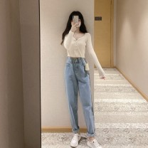 Fashion suit Autumn 2020 S M L XL Apricot top with light blue jeans red top with dark blue jeans 18-25 years old Cabinet school Polyester 80% other 20% Pure e-commerce (online only)