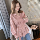 T-shirt Pink Navy White S M L XL 2XL Summer 2020 Long sleeves Polo collar easy Regular routine commute other 96% and above 18-24 years old Korean version originality Solid color Eight faced enchantress E11ESSSX Pocket lace up button Other 100%