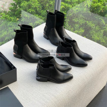 Boots 35,36,37,38,39 top layer leather Other / other Middle heel (3-5cm) Thick heel top layer leather Short tube Sharp point Sheepskin Sheepskin Autumn 2020 Sleeve Europe and America genuine leather Solid color Fashion boots Adhesive shoes Sheepskin winter Hollow out, metal decoration