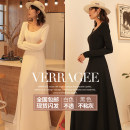 Dress Spring 2021 S M L XL 2XL longuette singleton  Long sleeves commute Crew neck middle-waisted Solid color Socket Big swing routine Others 30-34 years old Type A Verragee / wiya Retro Q210112 More than 95% other Other 100%
