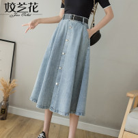 skirt Summer 2021 S M L XL Blue black Mid length dress commute High waist A-line skirt Solid color Type A Denim Jiaolan Button Korean version Pure e-commerce (online only)