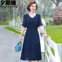 Middle aged and old women's wear Summer 2021 Navy, red XL [recommended 90-110 kg], XXL [recommended 110-125 kg], 3XL [recommended 125-140 kg], 4XL [recommended 140-155 kg] fashion Dress easy singleton  Solid color 40-49 years old Socket thin Crew neck Medium length routine a846 fold polyester Chiffon