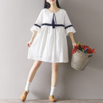 Dress Other / other White (with lining) M,L,XL,XXL Medium length Solid color