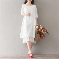 Dress Other / other white M,L,XL,XXL Medium length other Pure cotton (95% and above)