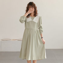 Dress Other / other Black, light green Average size Korean version Long sleeves Medium length spring square neck Solid color
