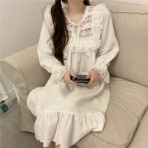 Pajamas / housewear set female Other / other Average size White two piece set , Khaki two piece set , White nightdress , Khaki Nightgown other autumn three thousand six hundred and eighty-two - five #