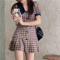 Dress Summer 2021 Picture color S, M Short skirt singleton  Short sleeve commute tailored collar High waist lattice double-breasted A-line skirt routine 18-24 years old Type A Button polyester fiber