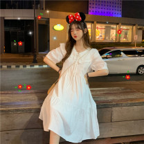 Dress Spring 2021 White, red Average size Miniskirt singleton  Short sleeve commute Doll Collar Loose waist Solid color Socket other routine Others 18-24 years old Type H polyester fiber