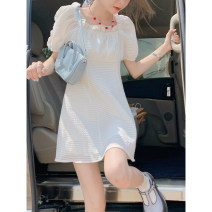 Dress Summer 2021 White, blue, yellow Average size Short skirt singleton  Short sleeve square neck Solid color Socket puff sleeve Type A fungus
