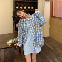 Dress Spring 2021 Grey T-shirt skirt, black T-shirt skirt, blue T-shirt skirt, white plaid shirt, Black Plaid shirt, blue plaid shirt Average size Miniskirt singleton  Short sleeve commute Crew neck Loose waist Solid color Socket routine Type H Korean version Splicing cotton
