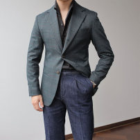 man 's suit Dark green Others Fashion City routine S,M,L Self cultivation Double breasted Other leisure Double slit youth Long sleeves spring routine Exquisite Korean style Casual clothes Flat lapel Round hem lattice 2020