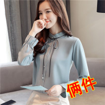 shirt S M L XL 2XL 3XL Spring of 2019 polyester fiber 96% and above Long sleeves commute Regular Half high collar Single row multi button pagoda sleeve Solid color 25-29 years old Straight cylinder Han daisa Korean version HDS82088 Lotus leaf edge Polyester 100% Pure e-commerce (online only)