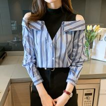 shirt stripe S,M,L,XL,2XL Spring 2021 other 31% (inclusive) - 50% (inclusive) Long sleeves commute Regular Polo collar Single row multi button routine stripe 18-24 years old Self cultivation Korean version U Button Chiffon