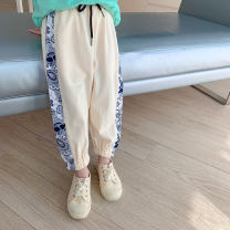 trousers LAN xiaopa female 80, 90, qiqichuan, 100, 110, 120, 130, 140, 150 Off white, casual grey spring trousers Simplicity There are models in the real shooting Knickerbockers Leather belt middle-waisted cotton Don't open the crotch Other 100%