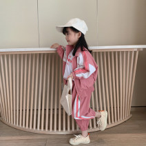 suit LAN xiaopa Pink jacket, pink pants 80, 90, 100, qiqichuan, 110, 120, 130, 140, 150 female spring college Long sleeve + pants 2 pieces routine There are models in the real shooting nothing other other Other 100%