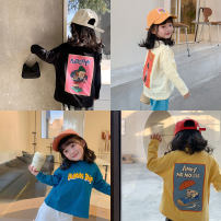 T-shirt Off white, dark blue, elegant black, light yellow, elegant black, light yellow, dark blue LAN xiaopa 80, 90, qiqichuan, 100, 110, 120, 130, 140, 150 female spring Long sleeves Crew neck Simplicity There are models in the real shooting nothing other letter Other 100%