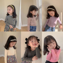 T-shirt Light yellow, taro purple, pink, coffee stripe, black stripe, gorgeous black, light yellow, coffee stripe, black stripe LAN xiaopa 80, 90, qiqichuan, 100, 110, 120, 130, 140, 150 female spring and autumn Long sleeves Crew neck Versatile There are models in the real shooting nothing cotton