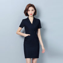 Dress Summer of 2019 Navy Blue S,M,L,XL,2XL,3XL Middle-skirt singleton  Short sleeve commute V-neck middle-waisted zipper One pace skirt routine Others 25-29 years old Type H Ol style pocket L180312