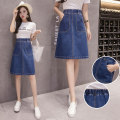 skirt Summer 2020 S,M,L,XL,2XL,3XL,4XL,5XL blue longuette commute High waist A-line skirt Solid color Type A Denim cotton pocket Korean version