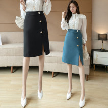 skirt Spring 2020 S,M,L,XL Apricot, blue, black Mid length dress commute High waist skirt Solid color 25-29 years old 81% (inclusive) - 90% (inclusive) other zipper Korean version