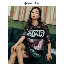 Dress Spring 2020 Flower black 1/XS 2/S 3/M 4/L Short skirt singleton  Short sleeve commute V-neck 25-29 years old Fiona Chen Retro FWAC50015 More than 95% other Other 100% Same model in shopping mall (sold online and offline)
