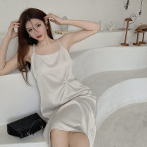 Dress Spring 2021 Apricot, black S,M,L Mid length dress singleton  Sleeveless commute One word collar Solid color Socket camisole Korean version Silk and satin Cellulose acetate