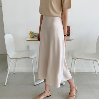 skirt Summer of 2019 S, M Apricot, black, pink Mid length dress Versatile High waist A-line skirt Solid color Type A 71% (inclusive) - 80% (inclusive) Silk and satin Other / other