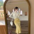 Fashion suit Spring 2021 S. M, average size Apricot white cardigan, lemon yellow skirt 31% (inclusive) - 50% (inclusive)
