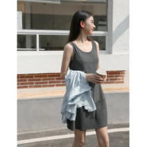 Dress Summer 2021 Black, dark grey, brown S, M Short skirt singleton  Sleeveless commute Crew neck Solid color Socket Glutinous rice you don't bloom Simplicity 30% and below other