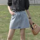 skirt Summer 2021 S,M,L Denim, Denim / pre-sale about 16 days Short skirt commute High waist skirt Type A 21B6120 More than 95% Glutinous rice you don't bloom cotton Simplicity