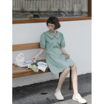 Dress Summer 2021 Cotton white, turquoise green S, M Middle-skirt singleton  Short sleeve commute Loose waist Solid color Single breasted puff sleeve Glutinous rice you don't bloom Simplicity Q21135 More than 95% cotton