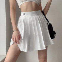 skirt Winter 2020 S,M,L White, black Short skirt street High waist A-line skirt Solid color Type A 18-24 years old 91% (inclusive) - 95% (inclusive) other polyester fiber Europe and America