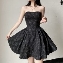 Dress Summer 2021 black S,M,L Short skirt singleton  Sleeveless street One word collar High waist Broken flowers Socket A-line skirt routine Breast wrapping 18-24 years old Type A Embroidery DLMCD12565 91% (inclusive) - 95% (inclusive) other cotton Europe and America