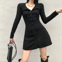 Dress Winter 2020 black S,M,L Short skirt singleton  Long sleeves street V-neck High waist Solid color Single breasted A-line skirt routine Others 18-24 years old Type A Button, V-neck DLD4430W0G 51% (inclusive) - 70% (inclusive) knitting polyester fiber Europe and America