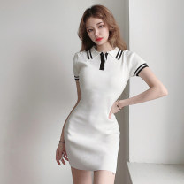 Dress Summer 2021 white S,M,L Short skirt singleton  Short sleeve street Polo collar High waist Solid color Socket One pace skirt routine Others 18-24 years old Type H More than 95% knitting other Europe and America
