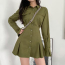 Dress Autumn 2020 S,M,L Short skirt singleton  Long sleeves street Polo collar High waist Solid color Single breasted A-line skirt routine Others 18-24 years old Type A Resin fixation 51% (inclusive) - 70% (inclusive) other polyester fiber Europe and America