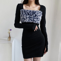 Dress Winter 2020 S,M,L Short skirt singleton  Long sleeves street square neck High waist Leopard Print Socket One pace skirt routine Others 18-24 years old Type H Splicing 91% (inclusive) - 95% (inclusive) knitting cotton Europe and America