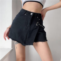 skirt Summer 2021 S,M,L black Short skirt commute High waist A-line skirt Solid color Type A 18-24 years old DLVAD10226 81% (inclusive) - 90% (inclusive) Denim polyester fiber Button Retro