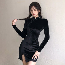 Dress Autumn 2020 black S,M,L Short skirt singleton  Long sleeves commute Slant collar High waist Solid color Socket One pace skirt routine Others 18-24 years old Type H Retro Resin fixation DLD5667W0H More than 95% other polyester fiber
