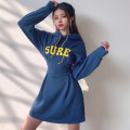 Dress Spring 2020 blue S,M,L Short skirt singleton  Long sleeves street Hood High waist letter Socket A-line skirt routine Others 18-24 years old Type A Bandage, embroidery DLMKD00555 51% (inclusive) - 70% (inclusive) other polyester fiber Europe and America