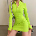 Dress Spring 2021 Green, black, grey, army green S,M,L,XL Short skirt singleton  Long sleeves street High collar High waist Solid color Socket One pace skirt routine Others 18-24 years old Type H Zipper, resin fixation YXJD8275W10 91% (inclusive) - 95% (inclusive) knitting cotton Europe and America