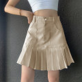 skirt Spring 2021 S,M,L khaki Short skirt Retro High waist A-line skirt Solid color Type A 18-24 years old DLD3180W0F 91% (inclusive) - 95% (inclusive) Denim polyester fiber Button, zipper